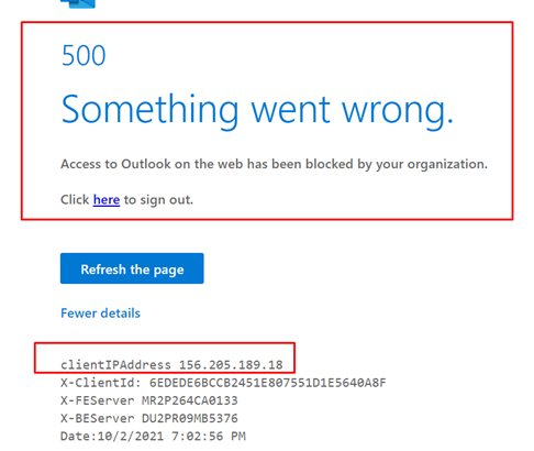 Block connection to exchange from web access (OWA)